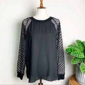 LOFT | Crochet Sleeve Raglan Top